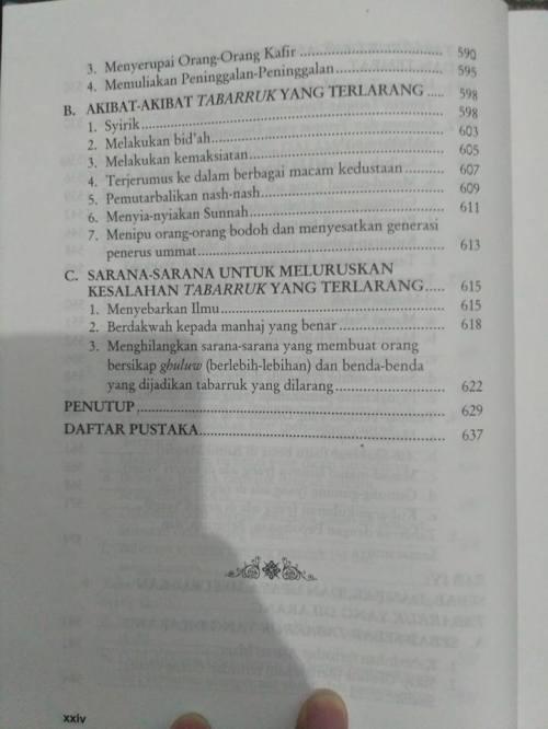 Daftar Isi kitab Tabarruk -10