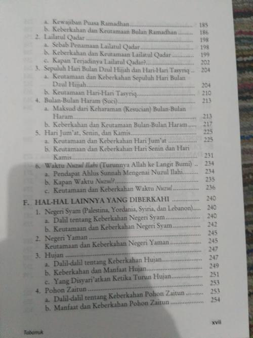 Daftar Isi kitab Tabarruk -3