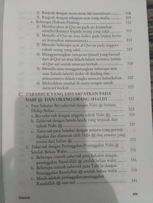 Daftar Isi kitab Tabarruk -5