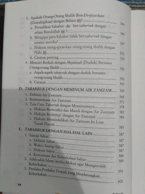 Daftar Isi kitab Tabarruk -6