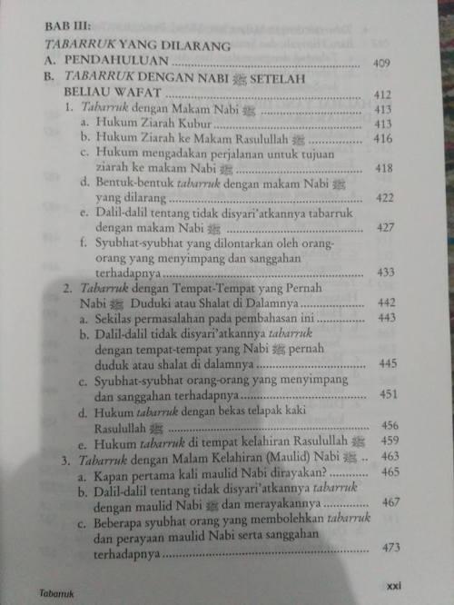 Daftar Isi kitab Tabarruk -7