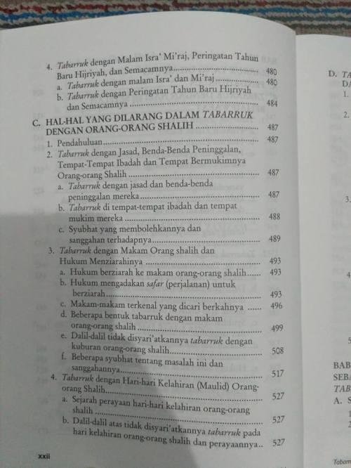 Daftar Isi kitab Tabarruk -8